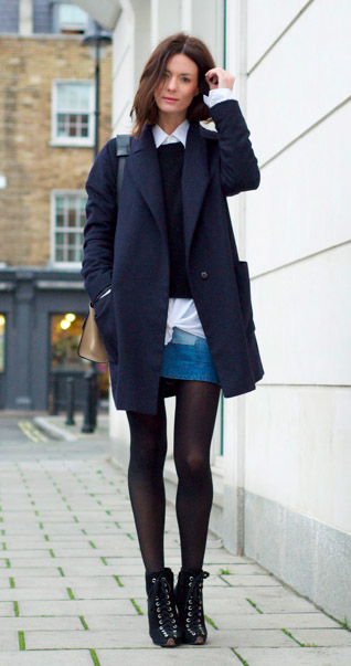 blue-med-mini-skirt-denim-white-collared-shirt-layer-black-sweater-black-tights-black-shoe-booties-hairr-fall-winter-lunch.jpg