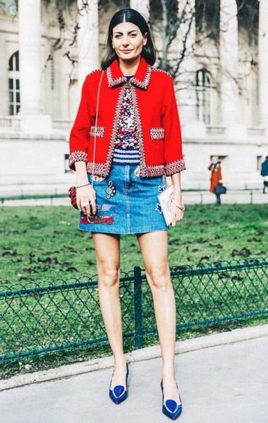 blue-med-mini-skirt-denim-red-jacket-boxy-lady-blue-shoe-pumps-fall-winter-hairr-lunch.jpg