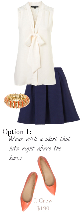 blue-navy-mini-skirt-white-top-blouse-bracelet-orange-shoe-flats-pleat-howtowear-fashion-style-outfit-spring-summer-work.jpg