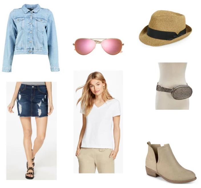 blue-navy-mini-skirt-white-tee-tan-shoe-booties-hat-straw-sun-gray-bag-fannypack-blue-light-jacket-jean-spring-summer-weekend.jpg