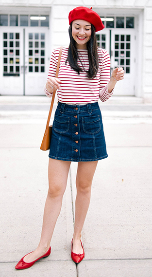 blue-navy-mini-skirt-denim-red-tee-stripe-cognac-bag-beret-hairr-red-shoe-flats-fall-winter-lunch.jpg