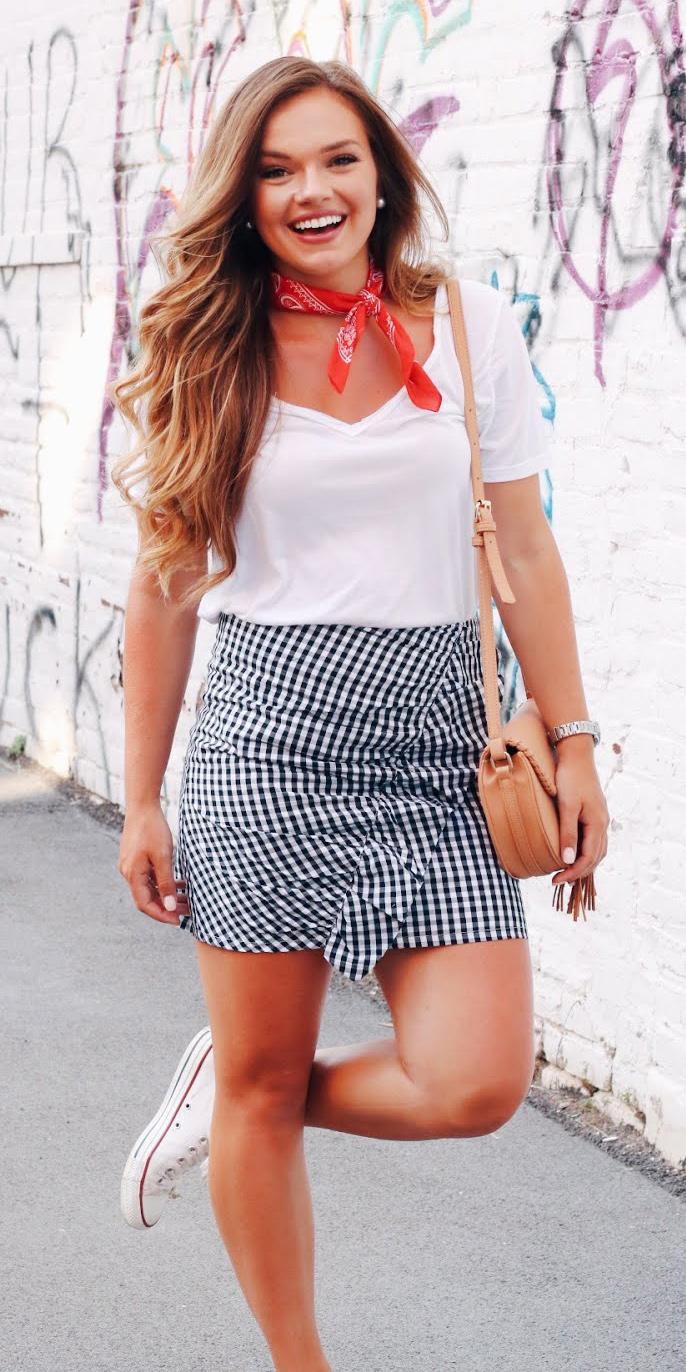blue-navy-mini-skirt-gingham-tan-bag-white-tee-red-scarf-neck-hairr-white-shoe-sneakers-spring-summer-weekend.JPG