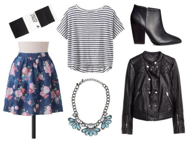 blue-navy-mini-skirt-black-tee-stripe-black-jacket-moto-floral-print-howtowear-fashion-style-outfit-fall-winter-black-tights-bib-necklace-black-shoe-booties-night-dinner.jpg