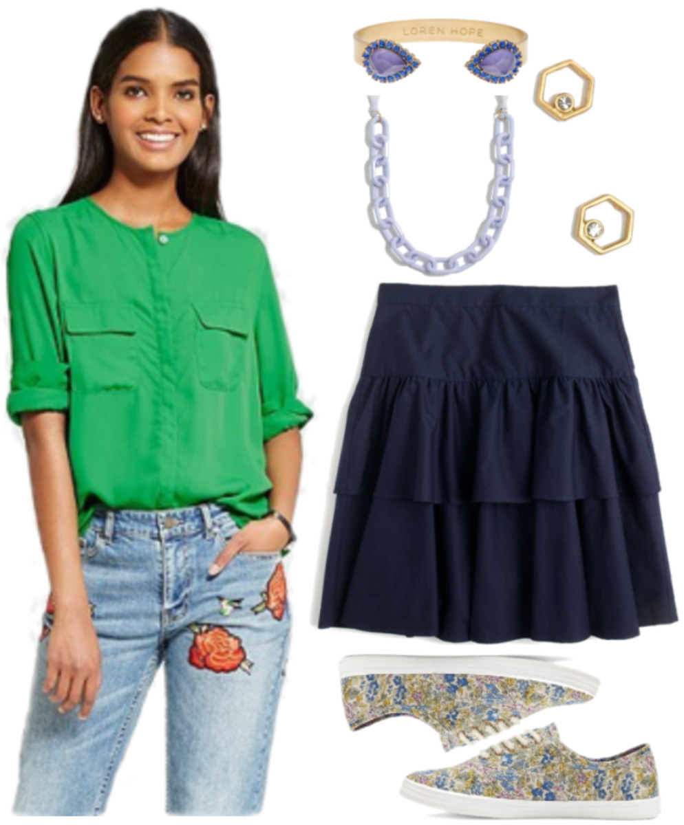 blue-navy-mini-skirt-tiered-green-emerald-top-blouse-necklace-green-shoe-sneakers-chain-bracelet-spring-summer-work.jpg