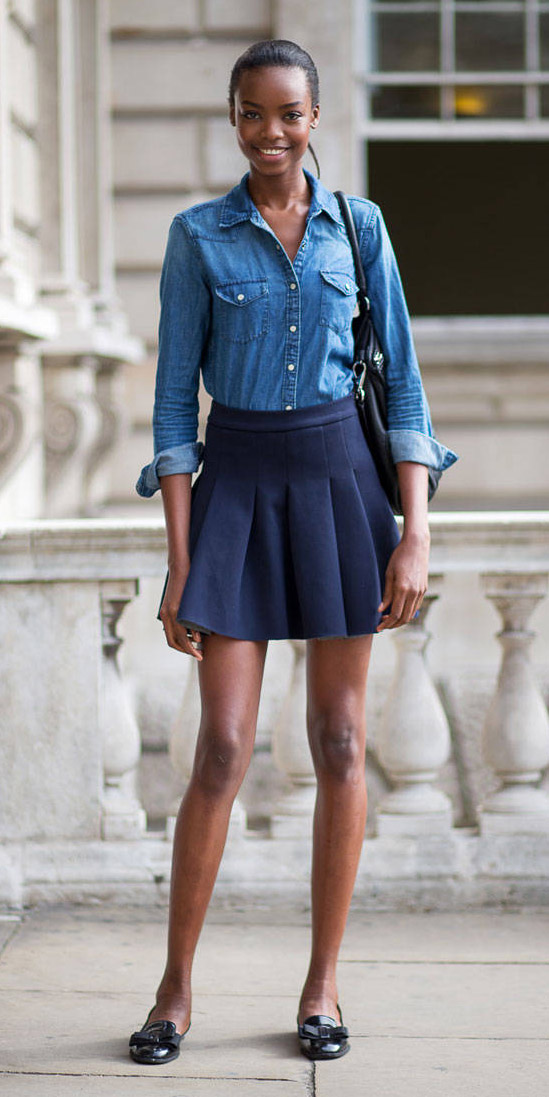 blue-navy-mini-skirt-blue-med-collared-shirt-chambray-pony-black-shoe-flats-fall-winter-brun-lunch.jpg