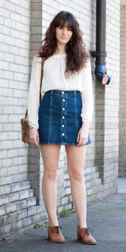 blue-navy-mini-skirt-denim-white-top-blouse-peasant-cognac-shoe-brogues-button-fall-winter-brun-lunch.jpg