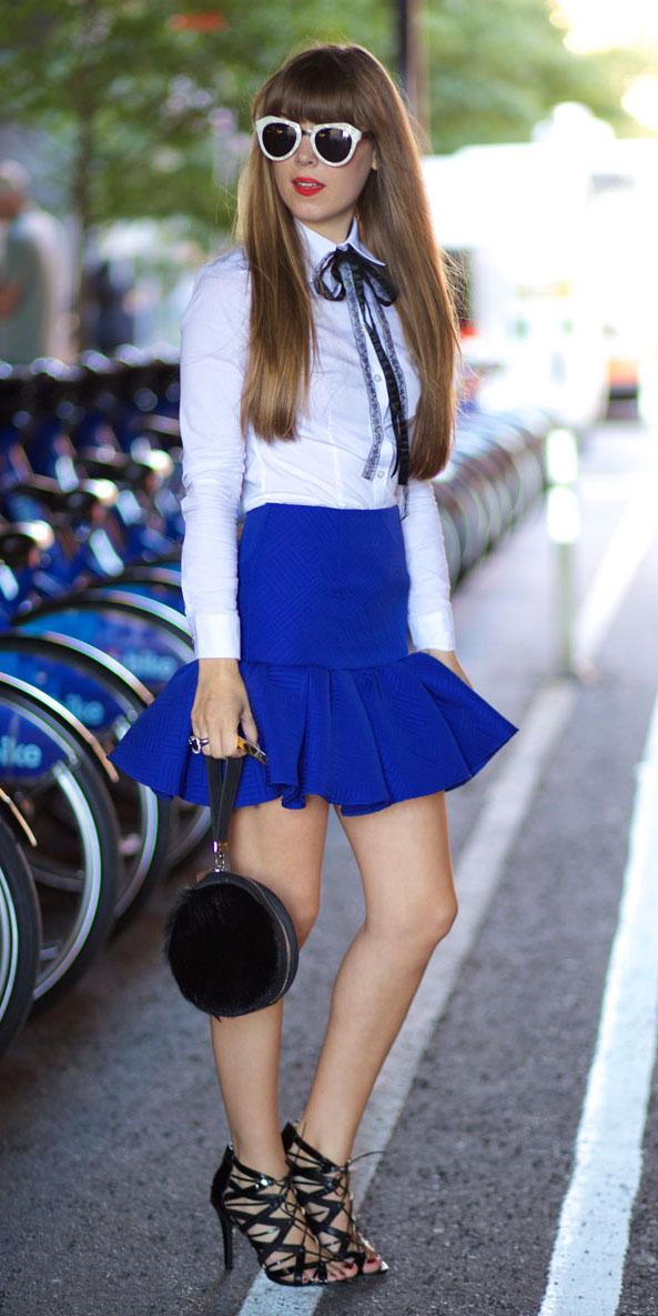 blue-navy-mini-skirt-cobalt-white-collared-shirt-sun-black-bag-black-shoe-sandalh-peplum-spring-summer-hairr-dinner.jpg