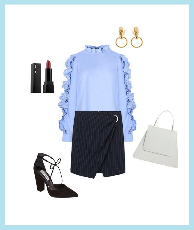 blue-navy-mini-skirt-blue-light-top-blouse-ruffle-earrings-black-shoe-pumps-white-bag-spring-summer-blonde-work.jpg