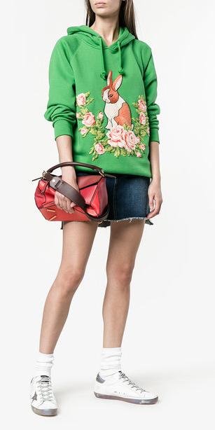 blue-navy-mini-skirt-denim-green-emerald-sweater-sweatshirt-graphic-red-bag-white-shoe-sneakers-socks-hairr-spring-summer-weekend.jpg