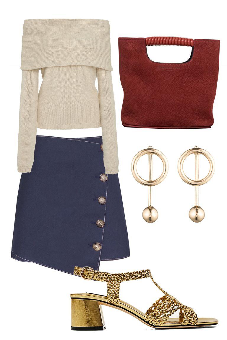 blue-navy-mini-skirt-white-sweater-earrings-red-bag-tan-shoe-sandalh-gold-fall-winter-dinner.jpg