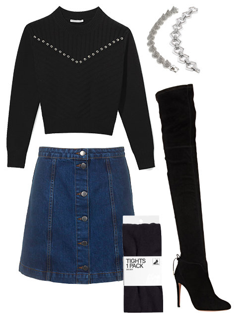 blue-navy-mini-skirt-black-sweater-wear-style-fashion-fall-winter-black-tights-black-shoe-boots-bracelet-thigh-high-denim-dinner.jpg