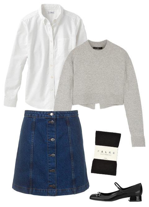 blue-navy-mini-skirt-white-collared-shirt-grayl-sweater-wear-style-fashion-fall-winter-denim-black-shoe-flats-black-tights-button-work.jpg