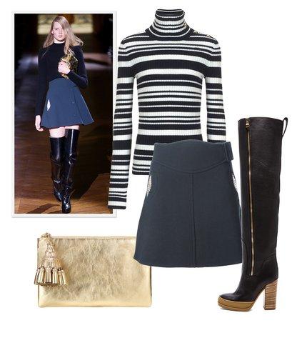 blue-navy-mini-skirt-black-sweater-stripe-tan-bag-clutch-black-shoe-boots-wear-style-fashion-fall-winter-turtleneck-blonde-lunch.jpg