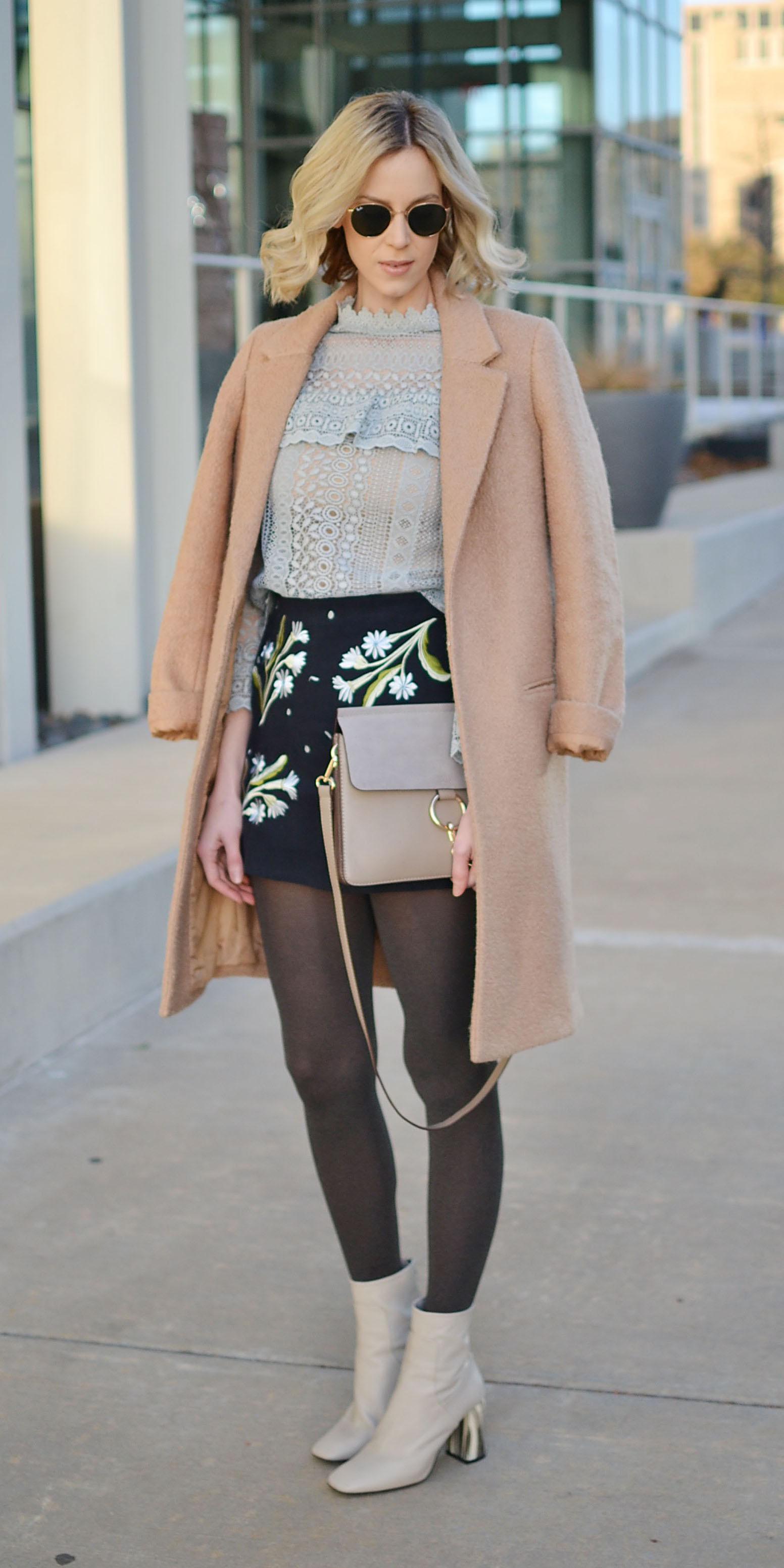 blue-navy-mini-skirt-blue-light-top-blouse-peasant-gray-tights-tan-jacket-coat-gray-shoe-booties-blonde-lob-gray-bag-fall-winter-lunch.jpg