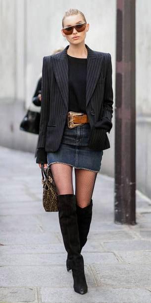 blue-navy-mini-skirt-denim-belt-black-tee-black-jacket-blazer-black-tights-fishnet-black-shoe-boots-otk-tan-bag-bun-sun-fall-winter-blonde-lunch.jpg