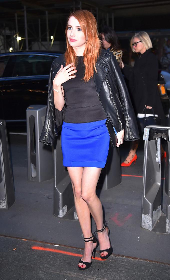 blue-navy-mini-skirt-black-top-black-jacket-moto-emmaroberts-wear-style-fashion-fall-winter-cobalt-black-shoe-sandalh-hairr-dinner.jpg
