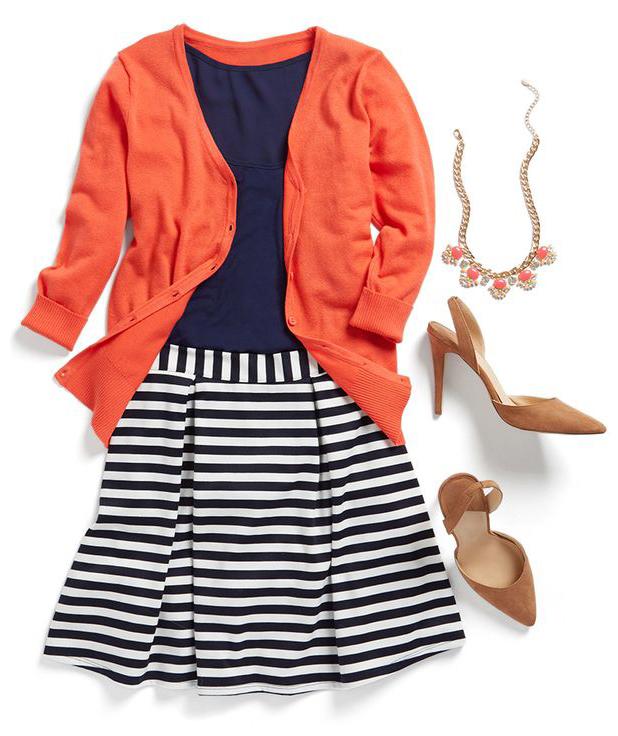 blue-navy-mini-skirt-stripe-blue-navy-tee-tan-shoe-pumps-bib-necklace-orange-cardigan-spring-summer-work.jpg