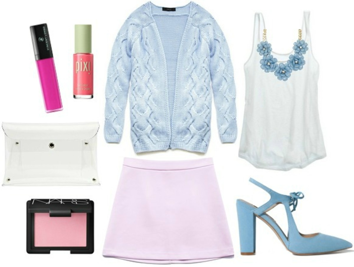 purple-light-mini-skirt-blue-light-cardigan-white-top-tank-bib-necklace-blue-shoe-pumps-white-bag-spring-summer-dinner.jpg