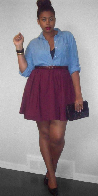 purple-royal-mini-skirt-blue-light-collared-shirt-bun-belt-fall-winter-brun-lunch.jpg