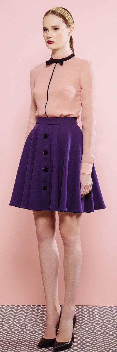 purple-royal-mini-skirt-peach-top-blouse-head-pony-black-shoe-pumps-fall-winter-hairr-lunch.jpg