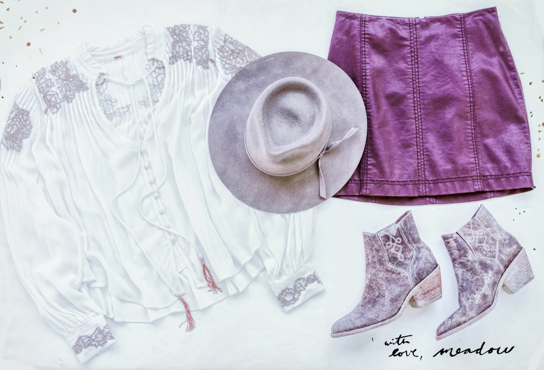 purple-royal-mini-skirt-white-top-blouse-peasant-hat-fall-winter-weekend.jpg