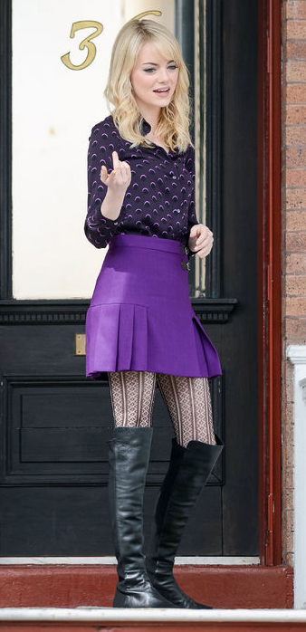 purple-royal-mini-skirt-purple-royal-top-blouse-print-black-tights-black-shoe-boots-emmastone-howtowear-fashion-style-outfit-fall-winter-blonde-lunch.jpg