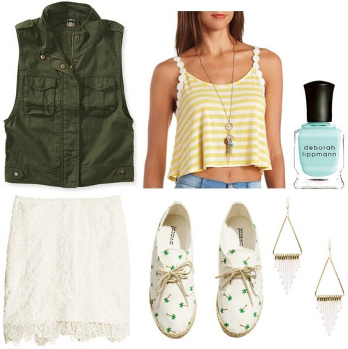 white-mini-skirt-yellow-cami-stripe-white-shoe-sneakers-nail-earrings-green-dark-vest-utility-spring-summer-weekend.jpg