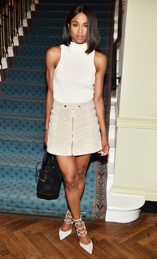 white-mini-skirt-brun-lob-white-sweater-sleeveless-white-shoe-pumps-spring-summer-dinner.jpg