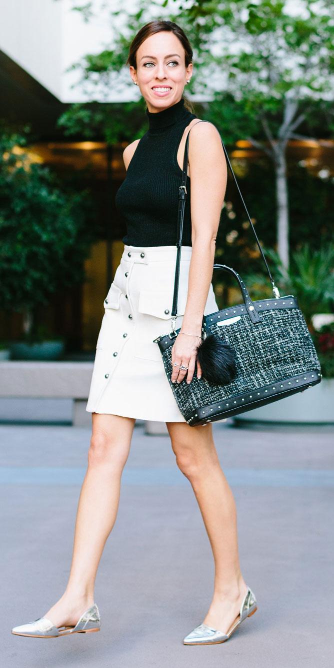 white-mini-skirt-black-sweater-sleeveless-black-bag-hairr-gray-shoe-flats-spring-summer-lunch.jpg