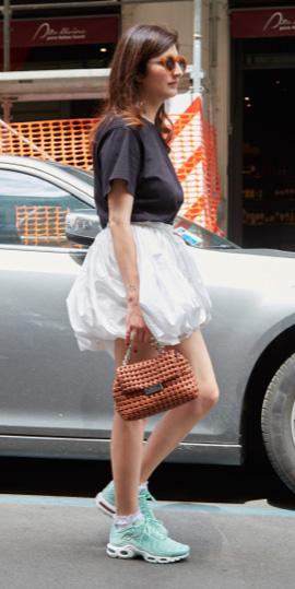 white-mini-skirt-black-tee-brun-sun-cognac-bag-green-shoe-sneakers-spring-summer-weekend.jpg