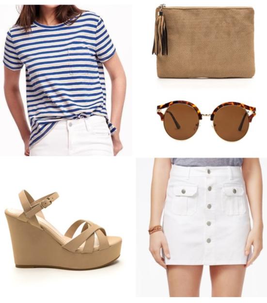 white-mini-skirt-blue-navy-tee-stripe-howtowear-fashion-style-outfit-spring-summer-boyfriend-button-wedge-tan-shoe-sandalw-sun-tan-bag-clutch-lunch.jpg