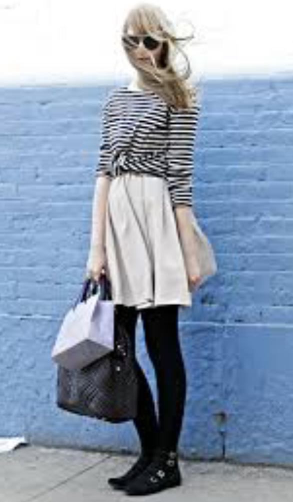 white-mini-skirt-black-tee-stripe-sun-black-shoe-booties-wear-style-fashion-fall-winter-black-tights-blonde-lunch.jpg