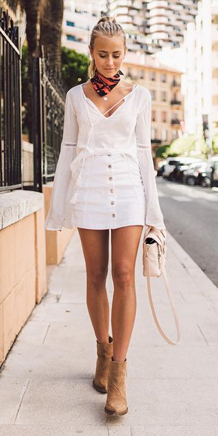 white-mini-skirt-white-top-blouse-peasant-white-bag-wear-style-fashion-spring-summer-orange-scarf-neck-pony-tan-shoe-booties-blonde-lunch.jpg