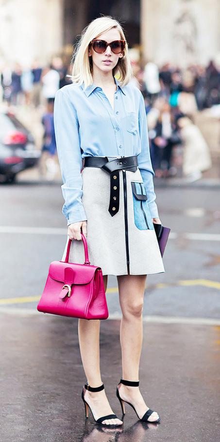 white-mini-skirt-blue-light-collared-shirt-sun-blonde-belt-pink-bag-black-shoe-sandalh-spring-summer-lunch.jpg