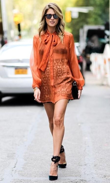white-mini-skirt-print-black-bralette-orange-blouse-black-shoe-pumps-tie-sun-blonde-fall-winter-dinner.jpg