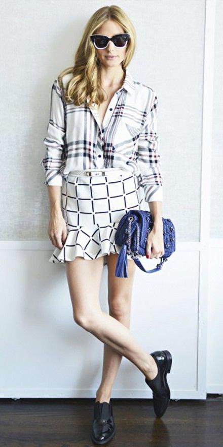 white-mini-skirt-check-print-sun-blue-bag-black-shoe-brogues-oliviapalermo-white-plaid-shirt-fall-winter-hairr-lunch.jpg