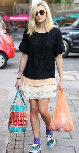 white-mini-skirt-black-top-blue-bag-tote-sun-socks-fearnecotton-wear-style-fashion-spring-summer-blue-shoe-sneakers-blonde-weekend.jpg