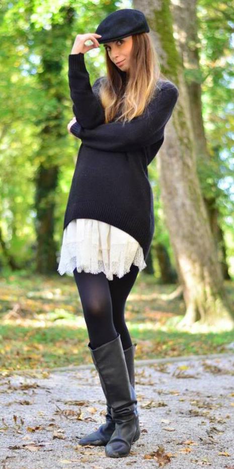 white-mini-skirt-black-sweater-hat-black-tights-wear-style-fashion-fall-winter-black-shoe-boots-blonde-lunch.jpg