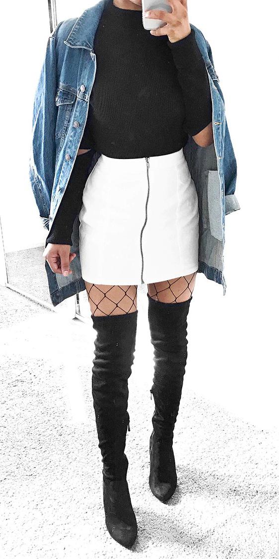 white-mini-skirt-black-sweater-blue-med-jacket-jean-oversized-black-tights-fishnet-black-shoe-boots-otk-fall-winter-lunch.jpg