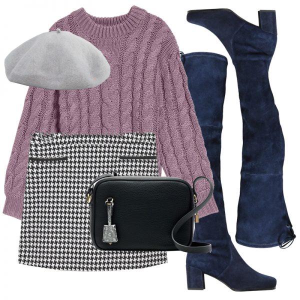 white-mini-skirt-houndstooth-blue-shoe-boots-otk-purple-light-sweater-hat-beret-black-bag-fall-winter-lunch.jpg