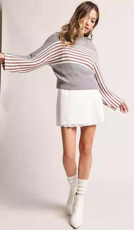 white-mini-skirt-grayl-sweater-stripe-socks-white-shoe-booties-fall-winter-hairr-lunch.jpg