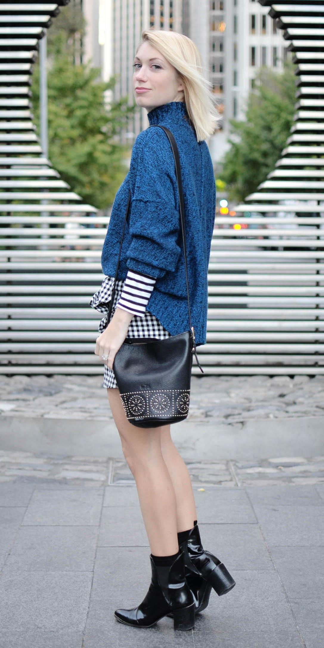 white-mini-skirt-gingham-print-blue-navy-sweater-turtleneck-black-bag-black-shoe-booties-fall-winter-blonde-lunch.jpg