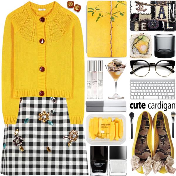 white-mini-skirt-gingham-print-yellow-cardigan-studs-spring-summer-lunch.jpg