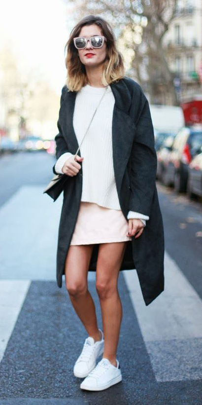 white-mini-skirt-white-sweater-sun-blonde-lob-black-bag-white-shoe-sneakers-black-jacket-coat-fall-winter-weekend.jpg