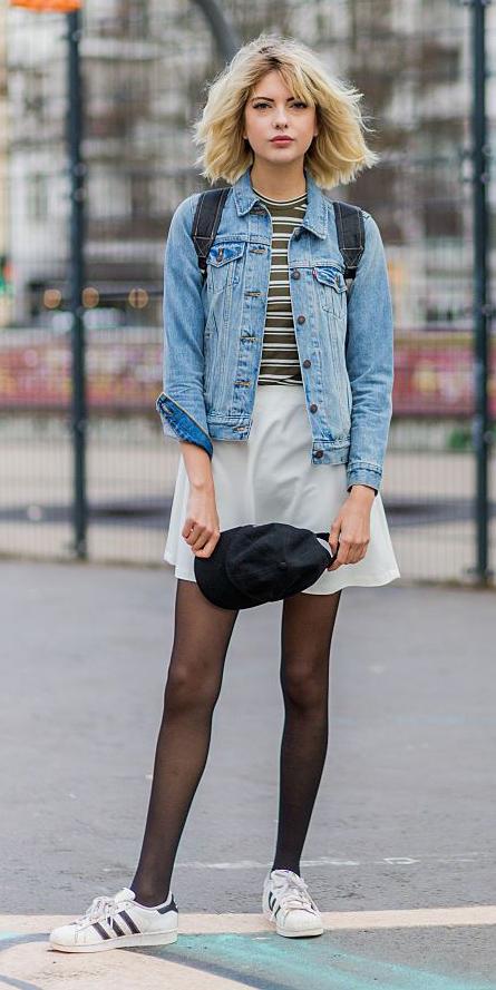 white-mini-skirt-black-tights-green-olive-tee-stripe-blue-light-jacket-jean-blonde-lob-white-shoe-sneakers-fall-winter-weekend.jpg