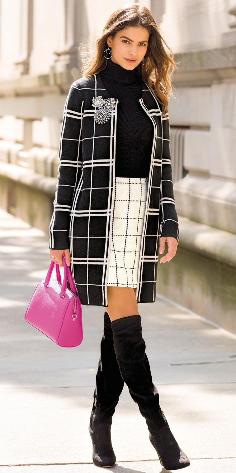 white-mini-skirt-windowpane-print-black-sweater-turtleneck-pink-bag-black-jacket-coat-black-shoe-boots-hairr-fall-winter-lunch.jpg