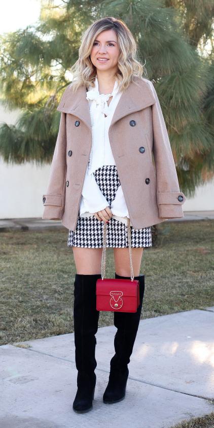 white-mini-skirt-houndstooth-print-white-top-blouse-red-bag-black-shoe-boots-otk-blonde-tan-jacket-coat-peacoat-fall-winter-dinner.jpg