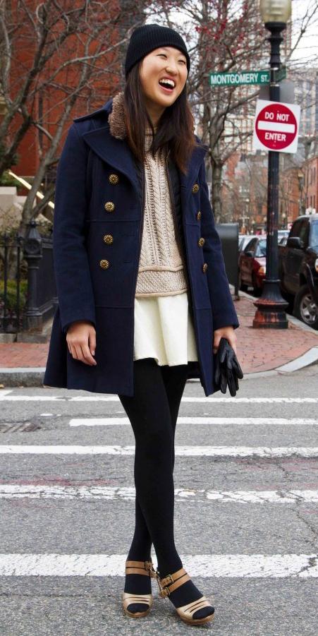 white-mini-skirt-black-tights-tan-shoe-sandalh-brun-beanie-tan-sweater-blue-navy-jacket-coat-peacoat-fall-winter-lunch.jpg