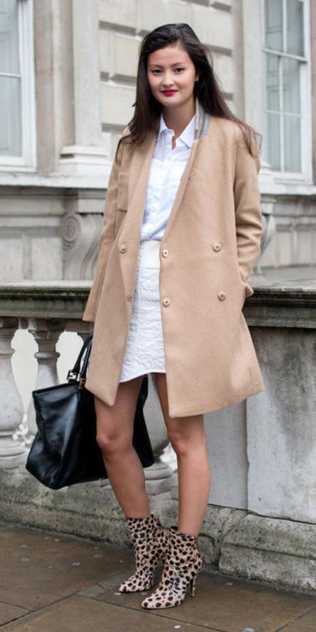 white-mini-skirt-white-collared-shirt-tan-shoe-booties-leopard-print-black-bag-tan-jacket-coat-fall-winter-brun-lunch.jpg