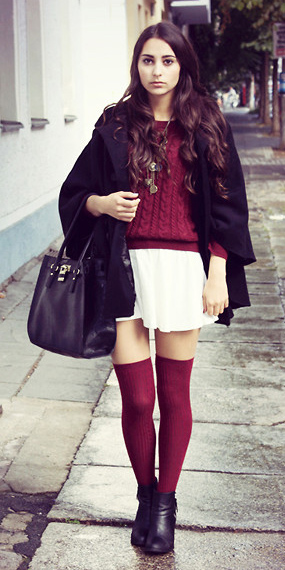 white-mini-skirt-burgundy-sweater-socks-black-shoe-booties-black-jacket-coat-cape-fall-winter-brun-lunch.jpg
